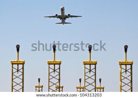 An airplane is taking off from an airport