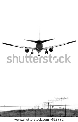 An airplane landing, B&W