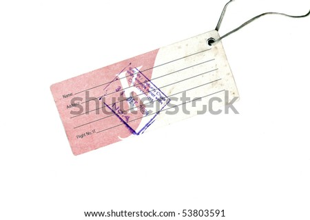 An airport security tag isolated on a white background