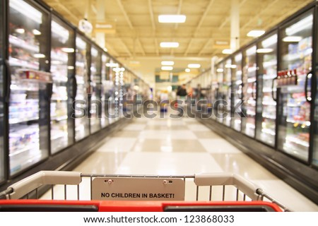 an aisle in a grocery store showing frozen foods