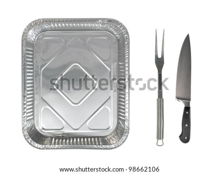 An alfoil baking tray on a white background