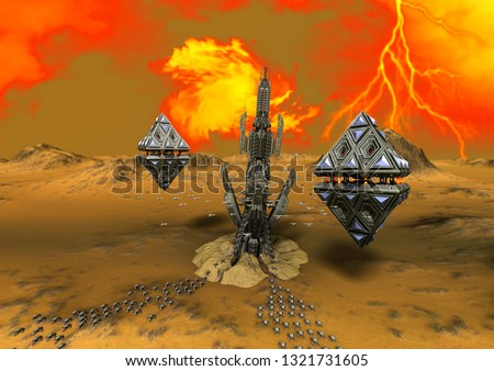 An alien planet with a spaceship base, robotic crabs, and ufos with pyramids shape. 3D Illustration.