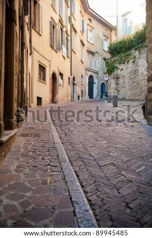 An alley of the ancient old city of Bergamo, Italy