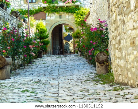 An alley that leads to an old, traditional Berat house, Albania.