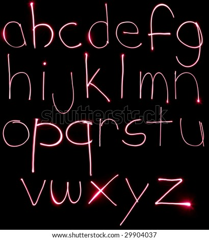 An alphabet set made from motion blurred light.