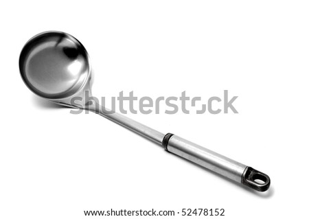 an aluminium ladle isolated on a white background