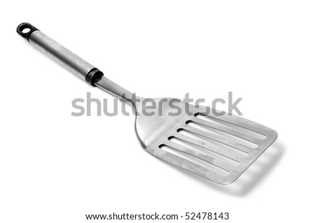 an aluminium spatula isolated on a white background - stock photo