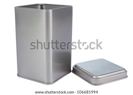 An aluminum Box top isolated against a white background