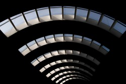 An amazing abstract photograph of a roof in a mall with different perspective with good depth of field (blur)