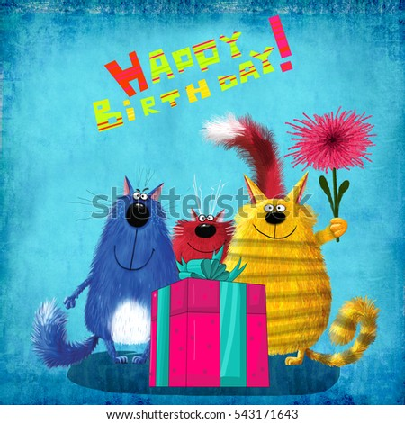 An amazing birthday card: three funny cats with a flower standing next to a huge present box on the blue background.