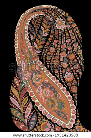 An amazing floral ethnic paisley on black for creating new apparel design.