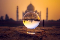 An amazing reflection of Magnificent TajMahal in the LensBall.