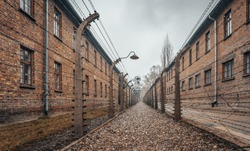 An amazing shot of the Auschwitz concentration camp in Poland-perfect for old prison, death camp concepts