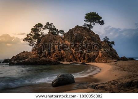 An amazing sunrise in the Cala Cap Roig in the Costa Brava Stock fotó ©