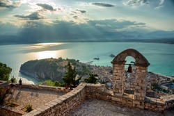 An amazing view from the top of Palamidi fortress above the city of Nafplion in Greece in the late afternoon