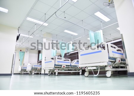 An ambulatory bed with comfortable medical equipment in a modern hospital in Asia, Thailand.