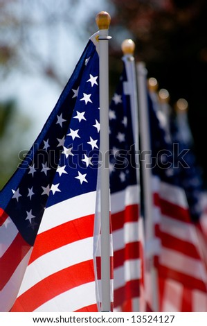 An American Flag display for celebration of a National holiday like Fourth of July, Memorial Day, Veterans Day etc.