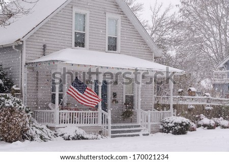 an american flag flies proudly...