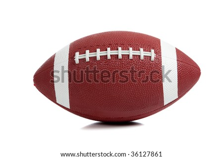 An American football on white background