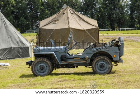 Photo of  an american military jeep vehicle of wwii