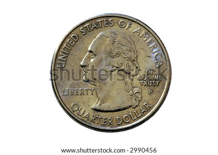 An American quarter isolated on white background