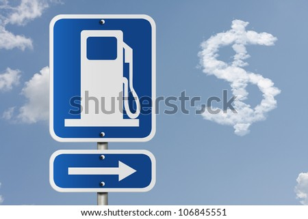 An American road sign with gas symbol, arrow, and dollar sign in the clouds, The price of gas
