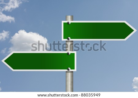 An American road sign with sky background and copy space for your message