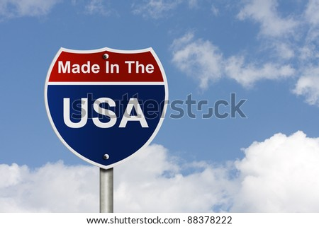 An American road sign with sky background and copy space for your message, Made In The USA