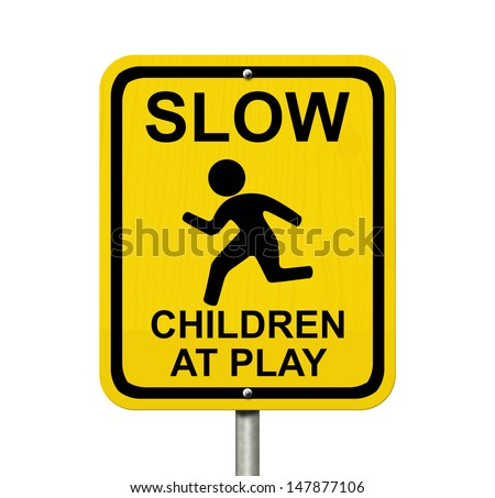 An American Road Warning Sign Isolated On White With Child ...