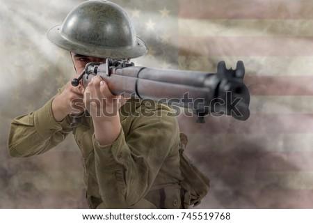 an American World War 1 soldier. 1917-18.