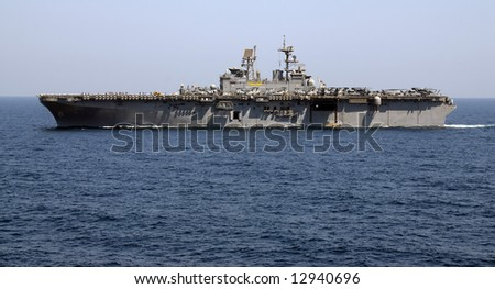 An Amphibious Assault Ship cruises the waters of the Persian Gulf