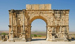 An ancient arch at the Roman City of Volubilis in Morocco, North Africa.