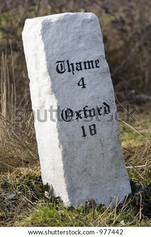 An ancient British road sign showing the way to the famous towns of Oxford and Thame