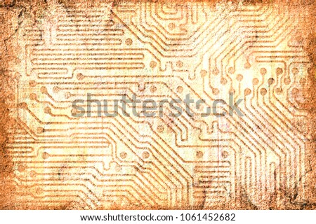Stock Photo An ancient cave painting predicting a future with electronics