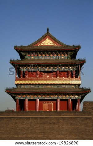 An ancient Chinese fortification at the end of Tienanmen Square in Beijing, China.