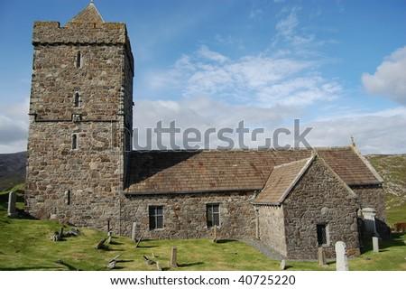 an ancient church in grave yard