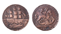 An ancient English copper coin halfpenny with the image of a sailboat and St. George. Isolated on white