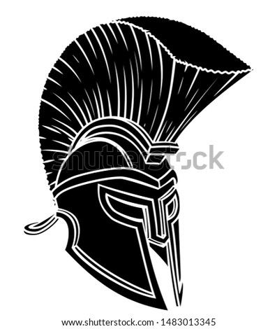 An ancient Greek Spartan, Roman gladiator or trojan warriors helmet