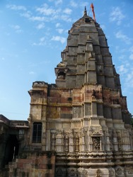 An ancient Hindu temple complex in the pilgrim town of Omkareshwar in Madhya Pradesh, India.