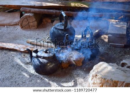 An ancient kettle in a coffee shop, Mae Klang luang, Chom Thong, Chiang Mai, Thailand #1189720477