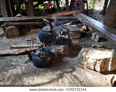 An ancient kettle in a coffee shop, Mae Klang luang, Chom Thong, Chiang Mai, Thailand #1190732146