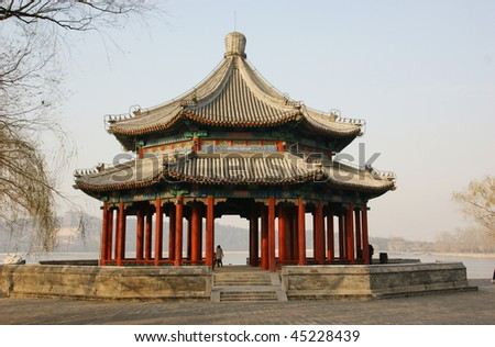 An ancient pavilion in a Beijing old park.