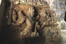An ancient rock cut sclupture of hindu goddess Kali at the Elephanta Caves in Mumbai,  INDIA.