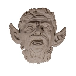 An ancient stone sculpture of a face satyr (faun). Isolated on white background