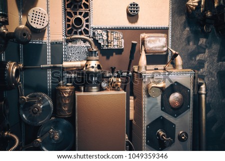 An ancient vintage wall with mechanisms in the steampunk style. Steampunk background and concept. #1049359346