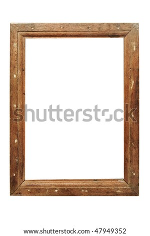 an ancient wooden frame isolated on a white background