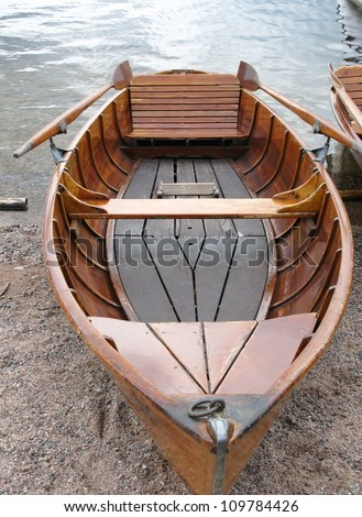 An ancient wooden rowing boat