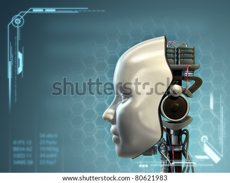 An android has part of his head mask removed, revealing its inner technology. Digital illustration. - stock photo