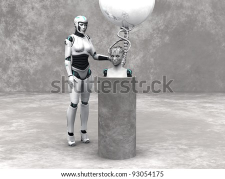 An android woman head on a podium. A female robot standing beside her. The head is connected to a big sphere through cables. Grey stone wall in the back and stone floor around the podium.