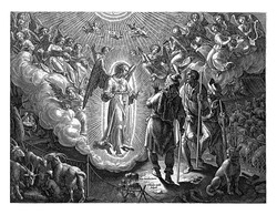 An angel in radiant light announces the birth of Christ to three shepherds, depicted at the left rear, vintage engraving.
